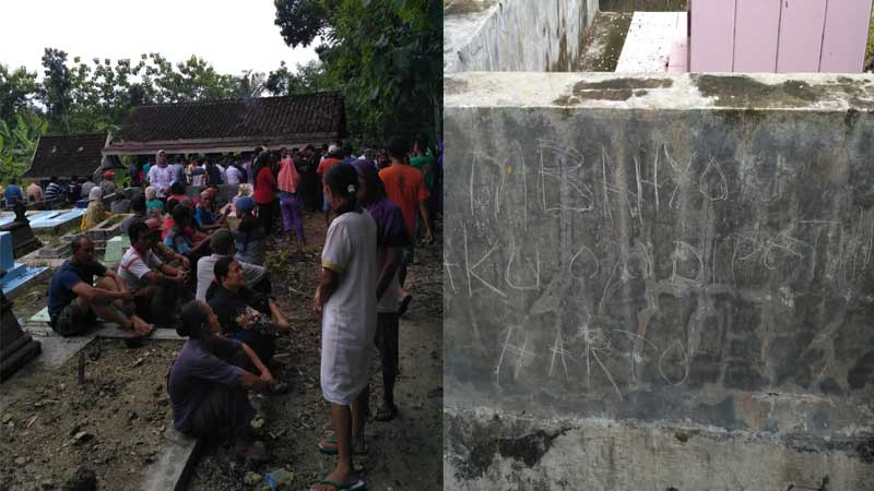 Peristiwa bunuh diri di Dusun Plembutan Playen. Foto: Kandar.